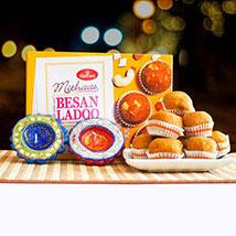 Besan Ladoo With Decorated Diyas: Diwali Gifting in Australia