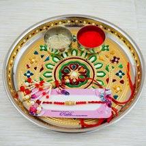 Parivar Two Rakhi Set with Puja Thali: Send Rakhi Pooja Thali to Australia