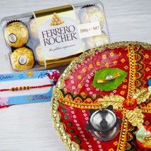 Rakhi with Fererro Rocher and Traditional Thali: Send Rakhi Pooja Thali to Australia