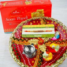 Rakhi with Soan Papdi and Traditional Thali: Send Rakhi to Perth