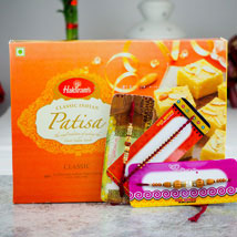 Super Three Rakhi Set With Kaju Katli: Send Rakhi to Adelaide