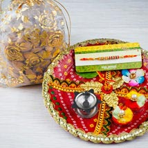 Thread Rakhi with Dry Fruits and Traditional Thali: Rakhi to Adelaide
