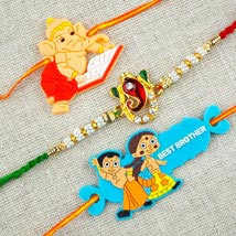 Three Colorful Rakhi Set: Send Rakhi to Adelaide