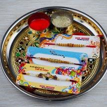 Three Family Rakhi Set with Puja Thali: Send Rakhi Pooja Thali to Australia