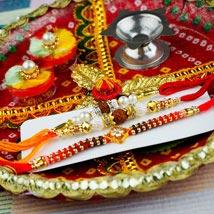 Three Popular Rakhi with Traditional Thali: Rakhi Delivery To Australia