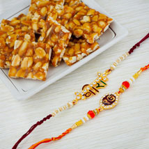 Two Raksha Bandhan Rakhi Set With Peanuts Chikki: Rakhi to Adelaide