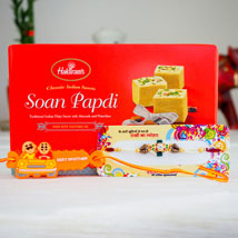 Two Shakti Rakhi Set With Soan Papdi: Rakhi to Perth