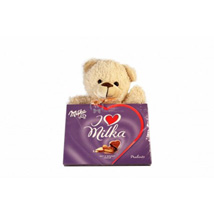 Sweet Milka Hearts with A Teddy: Send Gifts to Belgium