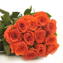 12 Orange Roses: New Born Baby Flowers in Canada