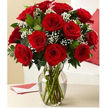 12 red roses with vase: Send Flowers to Edmonton