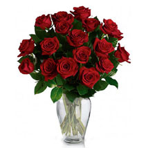 24 Red Roses in Vase: Gifts to Canada for Husband