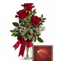 3 Red Roses With Greeting Card: Valentines Day Flowers to Canada