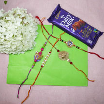 Beads Rakhi Set Of Four With Dairy Milk: Rakhi to Calgary