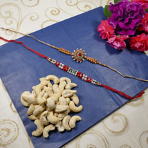 Beautiful Rakhi Set Of Two with Cashew: Rakhi to Calgary