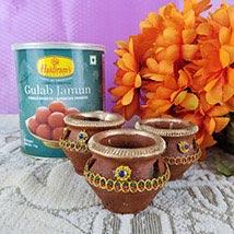Couple Of Gulab Jamun N Diyas: Diwali Gifts to Canada