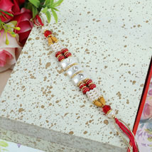 Crystal N Beads Thread Rakhi: Send Rakhi to Calgary