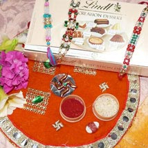 Dazzling Rakhi Set Of Three Thali With Lindt Creation Dessert: Rakhi to Calgary