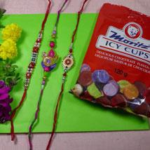 Designer Rakhi Set Of Three Rakhis With Icy cups: 3 Rakhi Set to Canada