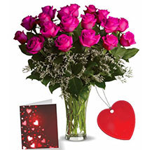 Eighteen Pink Roses With Card: Valentines Day Flowers Canada
