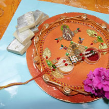 Fancy Rakhi Thali With Kaju Katli: Rakhi to Calgary