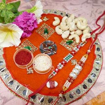 Pearl Rakhi Set Of Two Thali With Cashew: Send Rakhi to Calgary