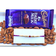 Red Stone and beads Rakhi with dual treat: