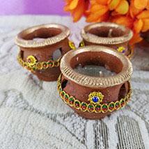 Set Of 3 Brown Diyas: Diwali Gift Delivery Canada