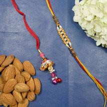Traditional Bhaiya Bhabhi Rakhi With Almonds: Rakhi with Dryfruits to Canada