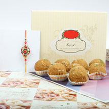Traditional Rakhi With Besan Laddu: Rakhi for Brother to Canada