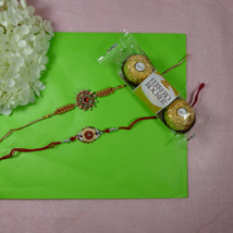Trendy Rakhi Set Of Two With Ferrero Rocher: Send Rakhi to Calgary
