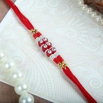 White Crystals N Red Thread Rakhi: Rakhi for Brother to Canada