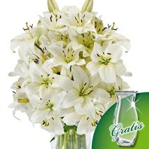 10 white lilies in a bunch: Gifts to Hamburg