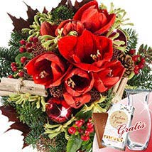 Winterstar with vase and Merci: Christmas Gift Delivery Germany
