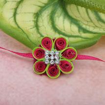 Paper Quilling Flower Rakhi HUN: Send Rakhi to Hungary