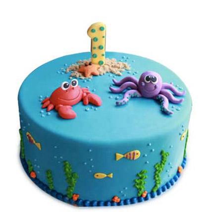 Baby Sea Animals Cake 2kg Pineapple