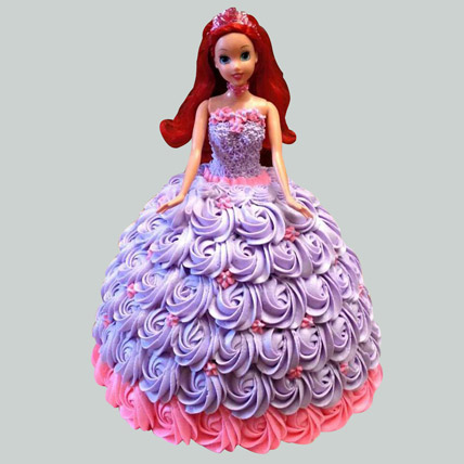 Barbie in Floral Roses Cake Pineapple 2kg Eggless