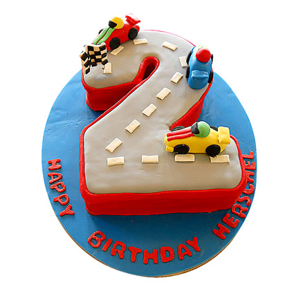 Car Race Birthday Cake 4kg Eggless Vanilla