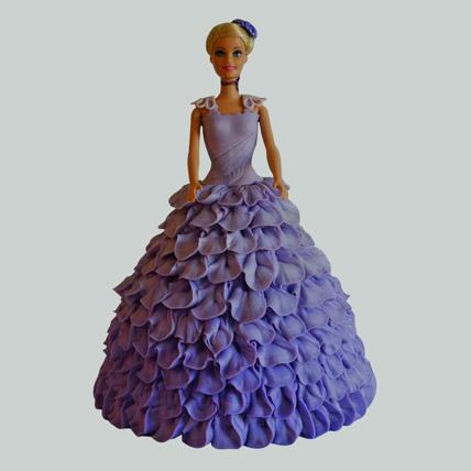 Dazzling Blue Barbie Cake Pineapple 2kg Eggless