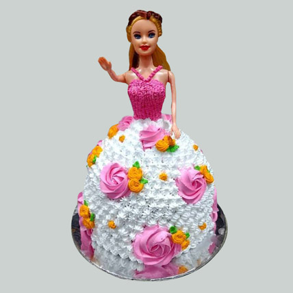 Floral Barbie Cake Black Forest 2kg Eggless