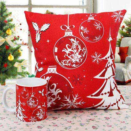 Merry Christmas Cushion with Mug