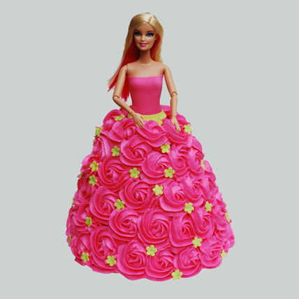 Pink Barbie Cake Black Forest 2kg Eggless