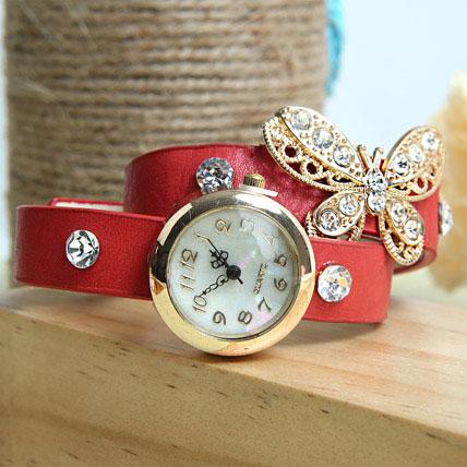 Red Braided Women Watch