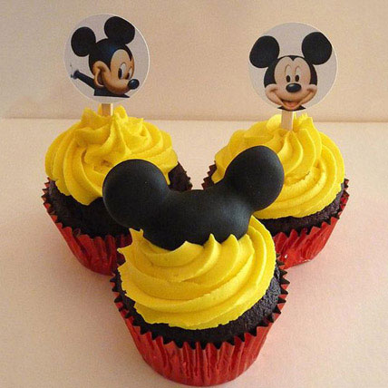 Trio Mickey Mouse Cupcakes 24 Eggless