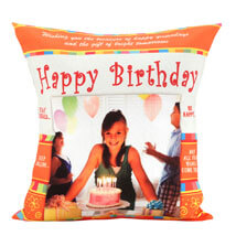An Eternal Delight-Personalized Cushion 12x12 inches Orange and White Color