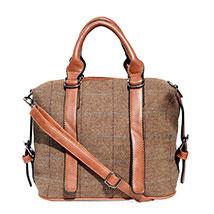 Brown Tweed Fabric Handbag: Anniversary Gifts