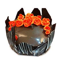 Chocolate Cake With Red Flowers: Designer Cakes