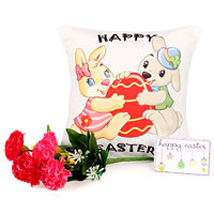 Easter Bunny Cushion: Artificial Flowers