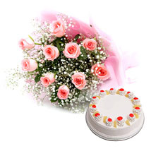 Flower and Cake Hamper: Cake with Bouquet