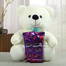 Lovable Teddy With Chocolate: Chocolate Gifts in India