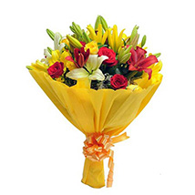 Mixed Roses N Lilies: Send Flower Bouquets